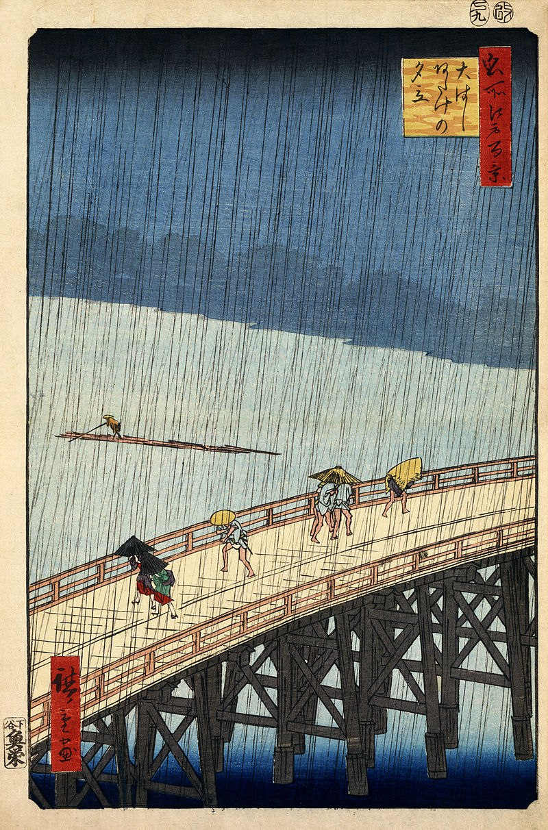 raining in a japanese woodblock